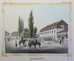 Kolor Lithografie Ulbersdorf Poenicke Schlösser & Rittergüter um 1855 Sachsen xz