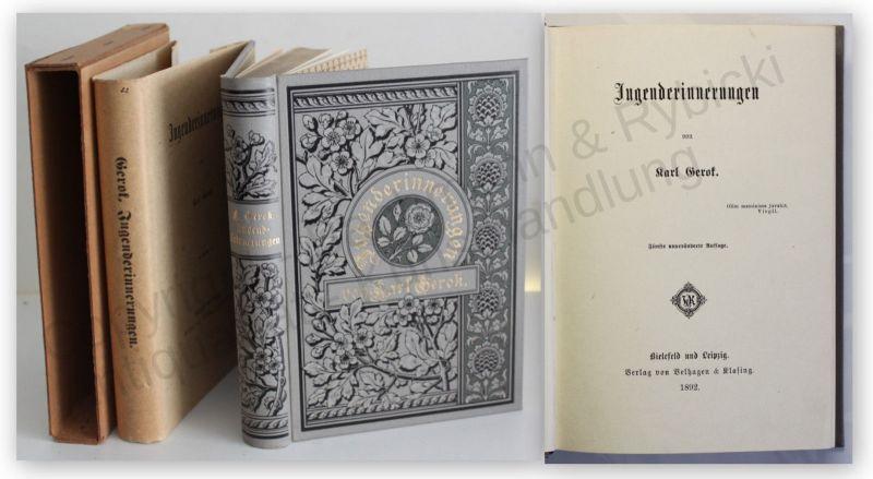 Gerok Jugenderinnerungen 1892 Belletristik Literatur dekorativer Einband xy