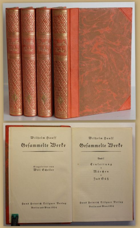 Scheller Wilhelm Hauff Gesammelte Werke 1924 4 Bde Belletristik Klassiker sf