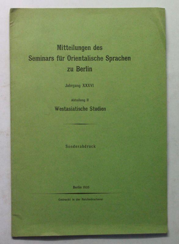 Sonderabdruck Mitteilungen des Seminars für Orientalische Sprachen Berlin 1933