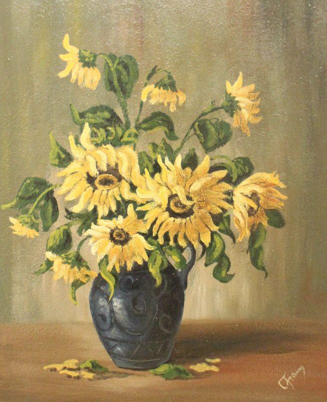 Ölgemälde Malerei C. Franz Sonnenblumen um 1900 Stillleben Blumenvase xz