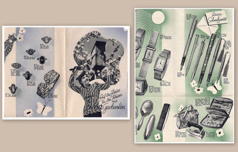 Wenz Werbeprospekt Broschüre Werbeblatt Reklame Uhren Schmuck um 1930 Art Deko
