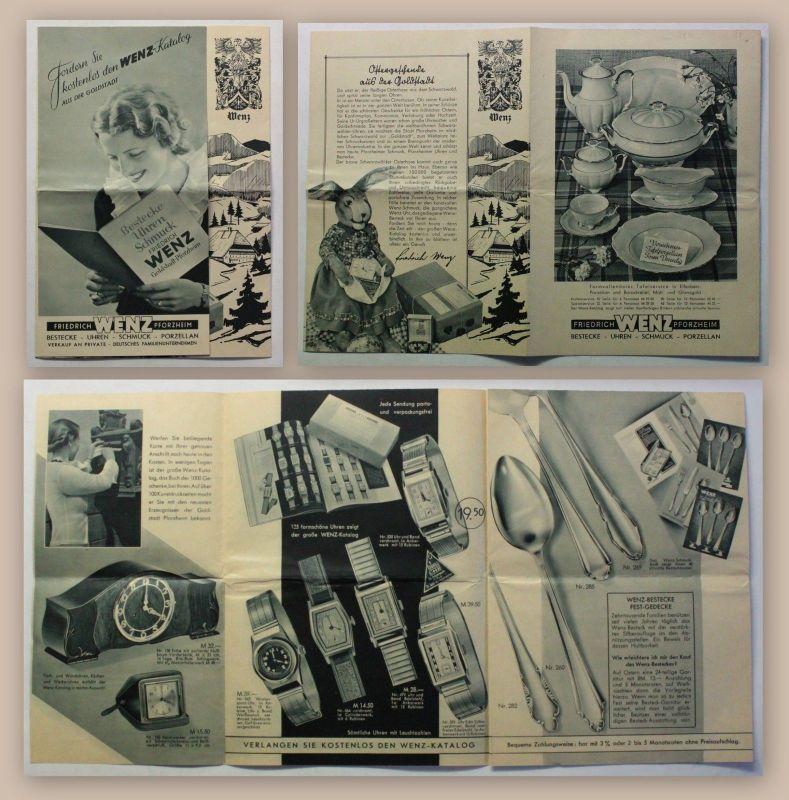 Wenz Werbeprospekt Werbeblatt Geschenke Uhren Schmuck Besteck um 1930 Art Deko