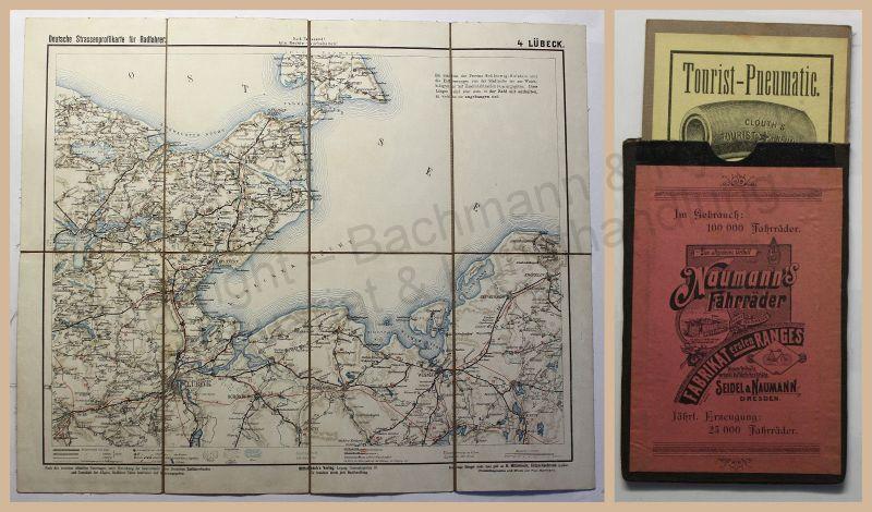 Deutsche Strassenprofilkarte für Radfahrer Radfahrkarte um 1920 Lübeck Ostsee xz