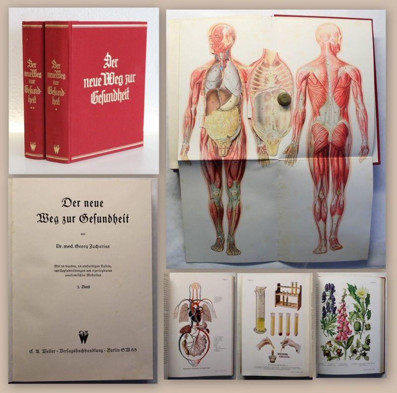 Zachariae Der neue Weg zur Gesundheit 2 Bde um 1930 mit zerlegbaren Modellen xz