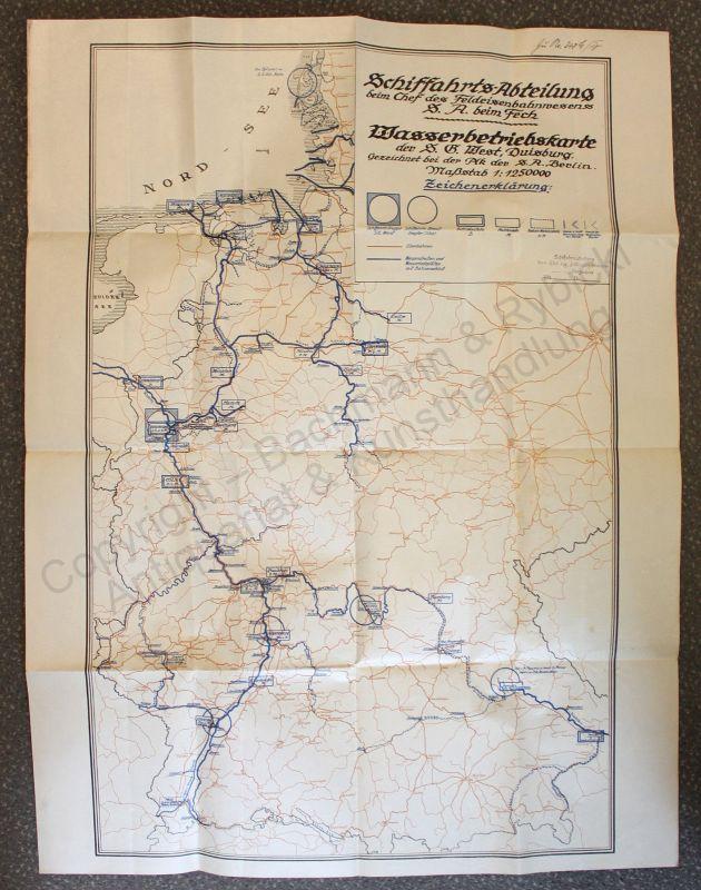 Wasserbetriebskarte Eisenbahnlinien Wasserstraßen Deutschland 1:1250.000 um 1920