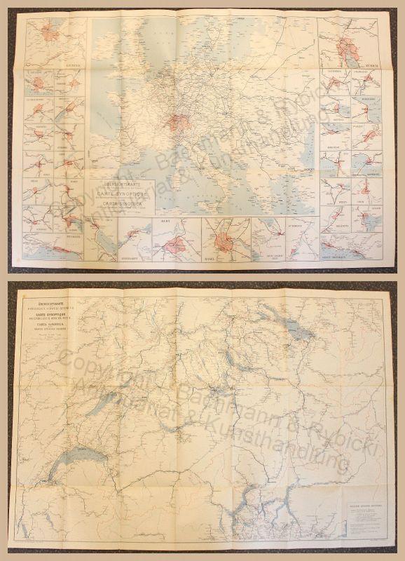 Übersichtskarte zum Off. Schweizer Kursbuch Landkarte Schweiz um 1910 xz