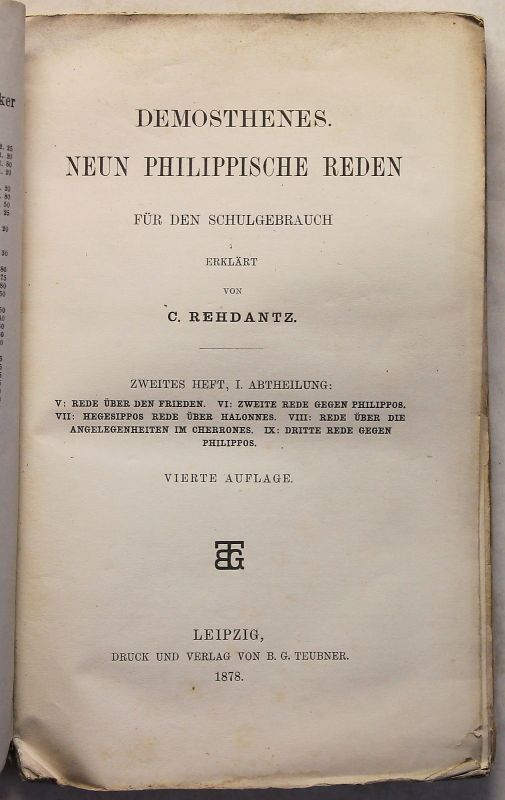 Rehdantz Demosthenes 9 Philippische Reden 2. Heft 1.Abt 1879 Politik Antike xz