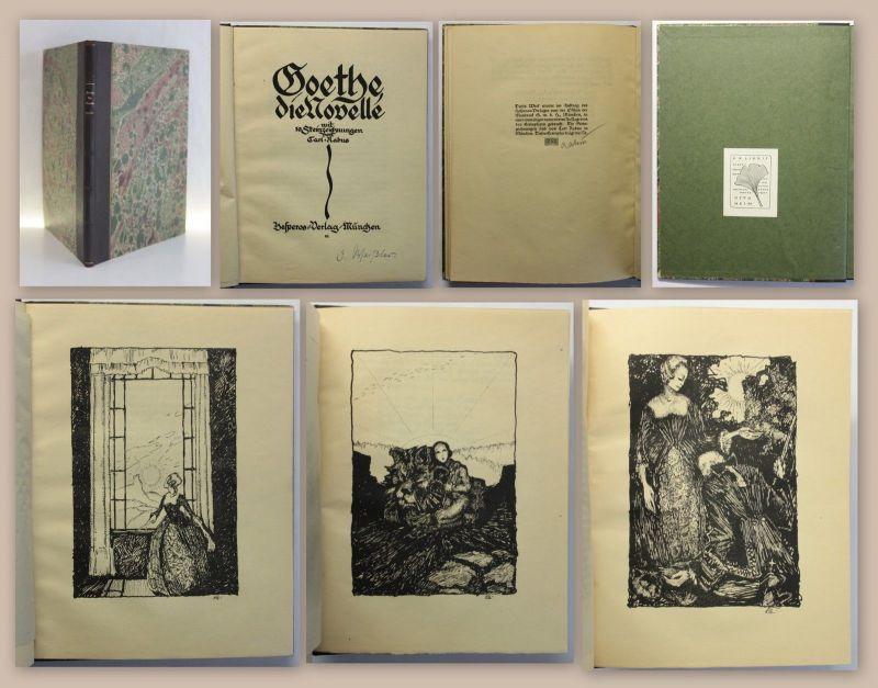 Goethe Die Novelle mit 10 Steinzeichnungen Lithografien von Carl Rabus um 1920
