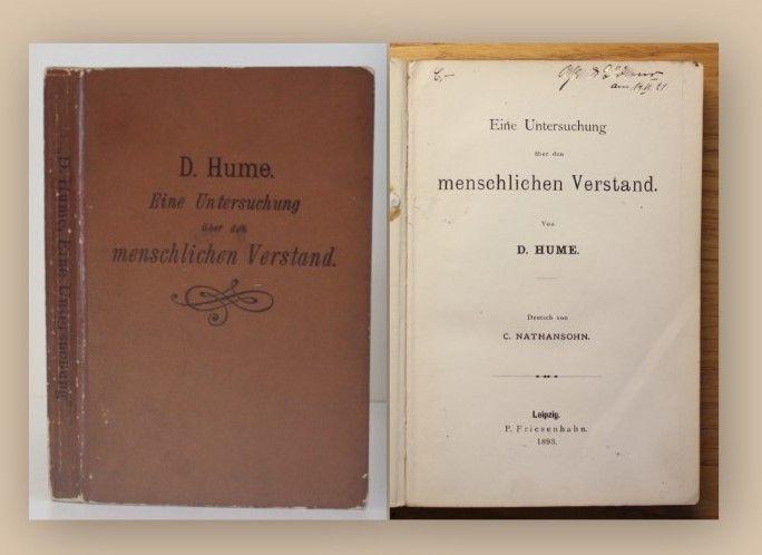 Hume Eine Untersuchung über den menschlichen Verstand 1893 Medizin Wissen xy