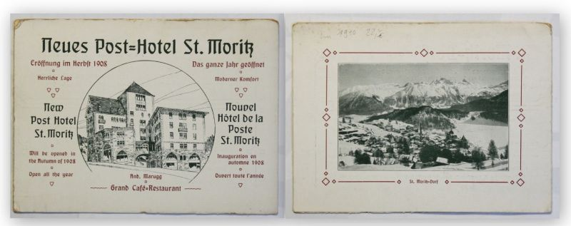 Prospekt Neues Post-Hotel St. Moritz um 1910 Landeskunde Ortskunde Geographie xy