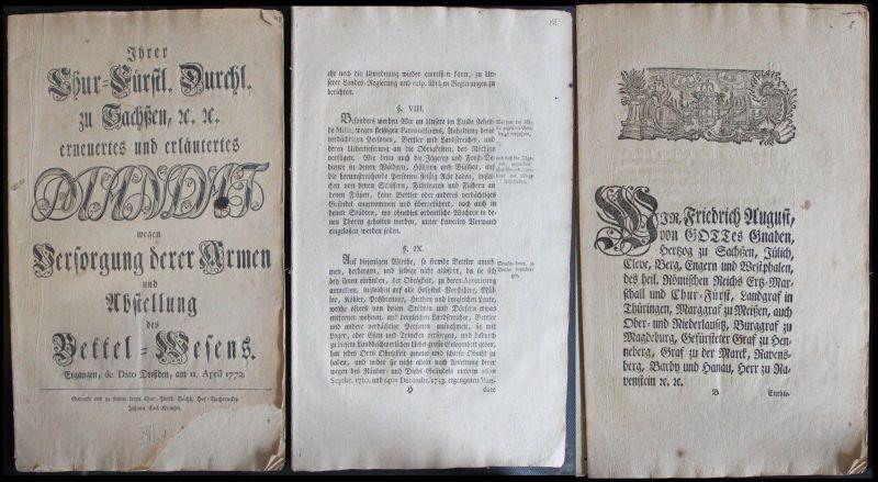 Mandat Versorgung derer Armen u. Abstellung des Bettel-Wesens 1772 Sachsen - xz