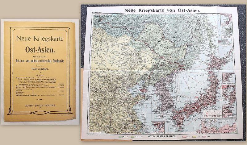 Langhans Neue Kriegskarte von Ost-Asien mit Begleitwort 1904 Perthes Militär xy