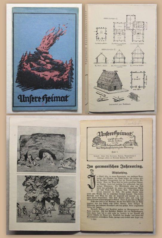 Otto Hermann Unsere Heimat Heft 1 Kamenz 1925 Ortskunde Landeskunde Sachsen xz