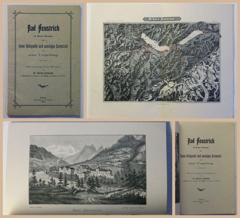 Original Prospekt Bad Heustrich im Berner Oberland Heilquelle 1897 Schweiz xz