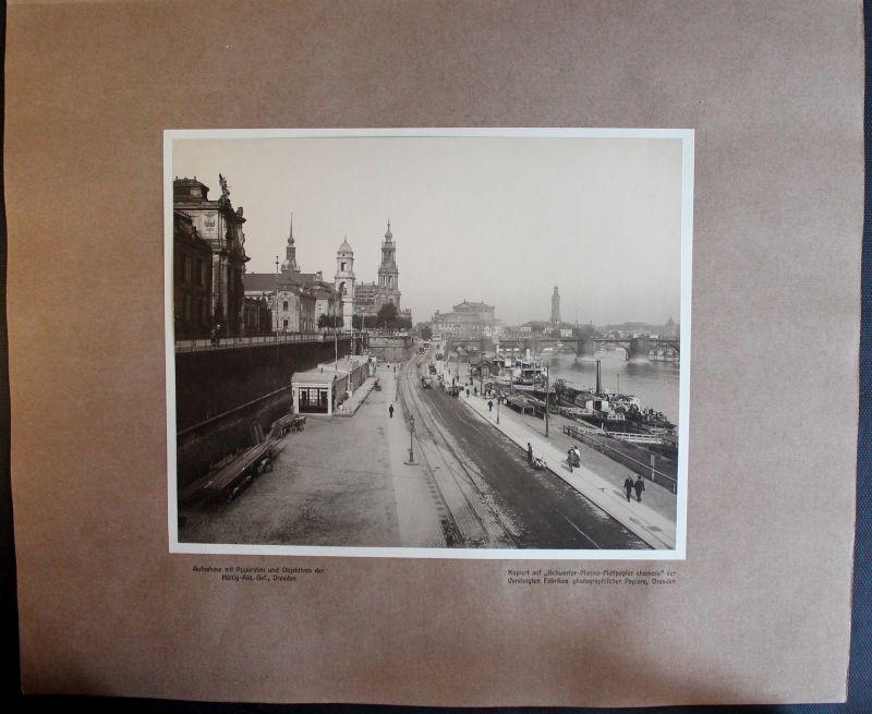 Fotografie Brühlsche Terasse mit Terassen Ufer - 1908 - Dresden Sachsen -xz