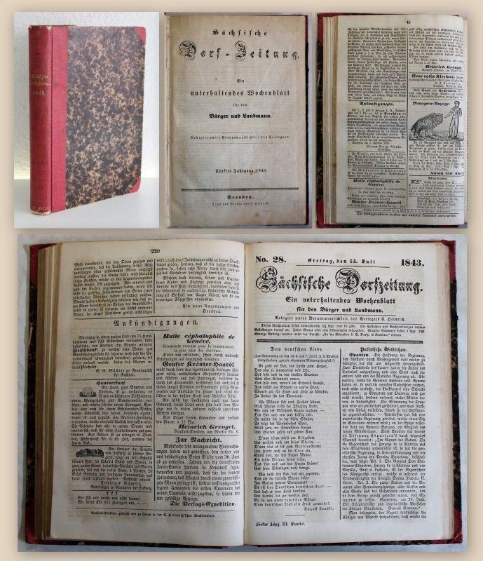 Heinrich Sächsische Dorfzeitung unterhaltendes Wochenblatt Sammlung 1843 Sachsen