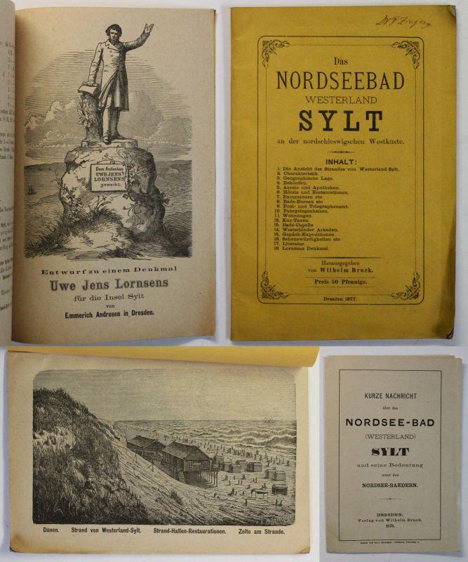 Orig Prospekt Nordseebad Westerland Sylt nordschleswigsche Westküste 1877 Bilder 0