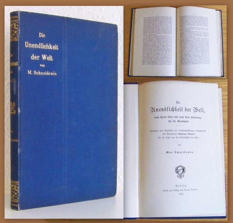 M. Schneidewin Die Unendlichkeit der Welt 1900 Philosophie Geisteswissenschaften