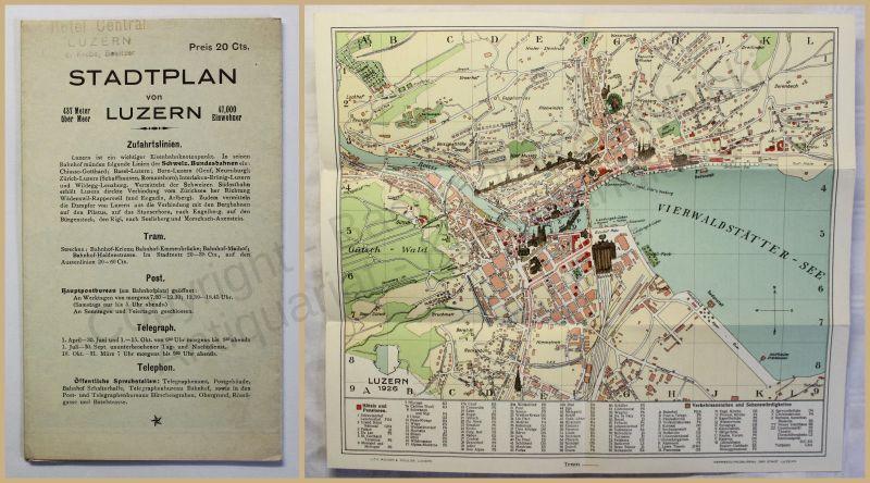 Orig. Prospekt Stadtplan von Luzern 1926 Schweiz Landeskunde Ortskunde xy