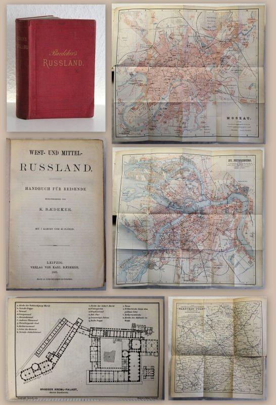 Baedeker Handbuch für Reisende West- und Mittel- Russland 1883 Erstausgabe xz