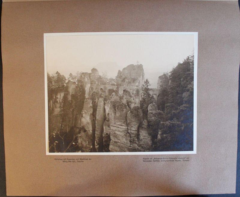 Fotografie Basteibrücke Sächsische Schweiz 1908 - Elbsandsteingebirge Sachsen xz