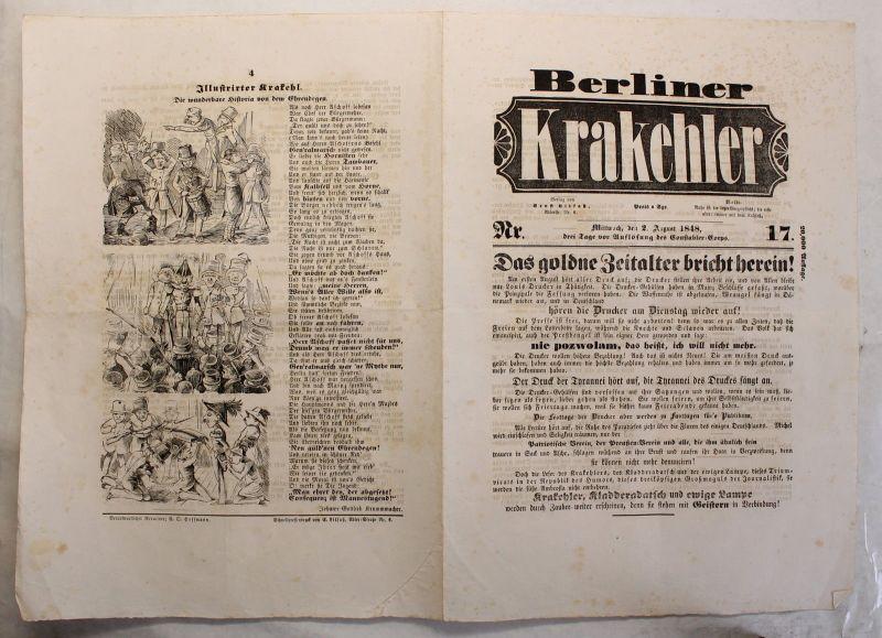 Zeitung Ernst Litfaß Berliner Krakehler 1848 Nr.17 Litfaßsäule komplett xy