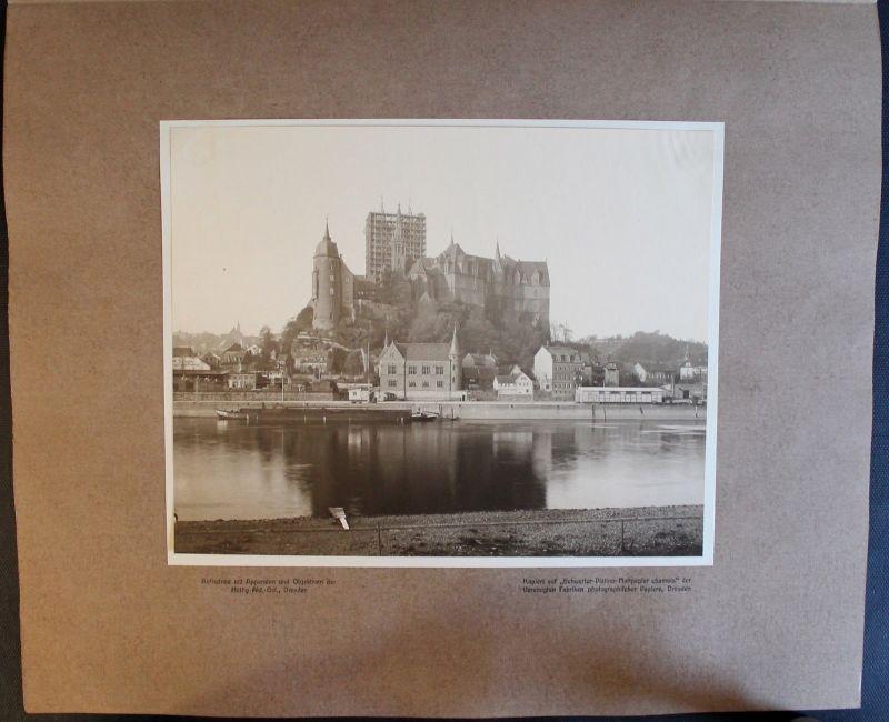 Fotografie Albrechtsburg Meissen 1908 Meißen Stadtansicht Sachsen Architektur xz