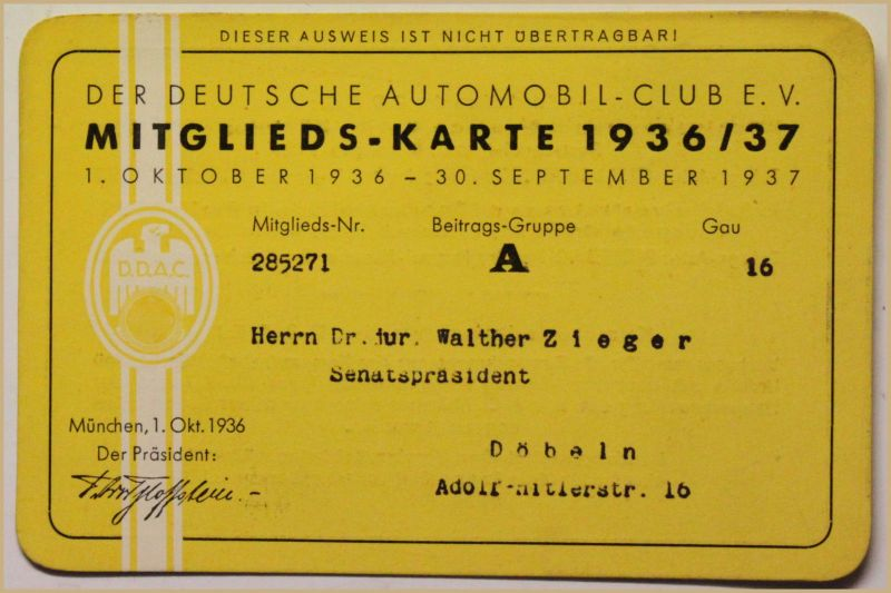 Orig. Mitglieds-Karte 1936/37 Deutscher Automobil-Club e.V. Auto Verkehr sf