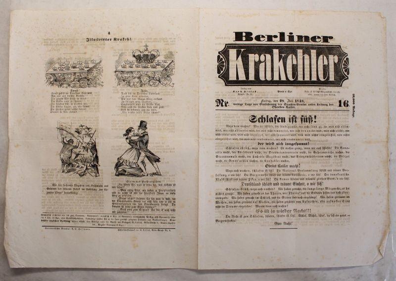 Zeitung Ernst Litfaß Berliner Krakehler 1848 Nr.16 Litfaßsäule Zeitschriften xy