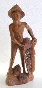 Alte Holzschnitzerei Japaner mit Fischernetz um 1900 Asien exotisches Holz xz