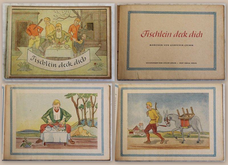 Grimm Tischlein deck dich Märchen Zeichnungen Atelier Wruck Äsop Verlag um 1950