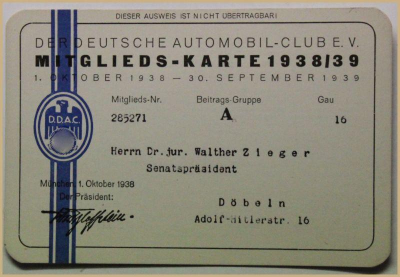 Orig. Mitglieds-Karte 1938/39 Deutscher Automobil-Club e.V. Auto Verkehr sf