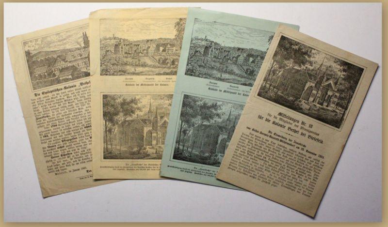 Orig. Prospekte Sammlung Mitteilung Kolonie Bethel b Bielefeld 4 Bde um 1885 sf