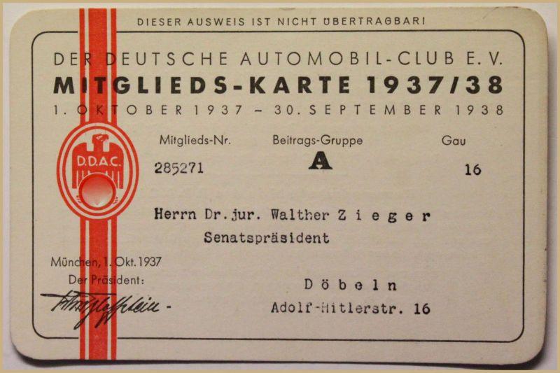 Orig. Mitglieds-Karte 1937/38 Deutscher Automobil-Club e.V. Auto Verkehr sf