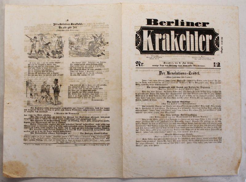 Zeitung Ernst Litfaß Berliner Krakehler 1848 Nr.12  komplett Litfaßsäule xy
