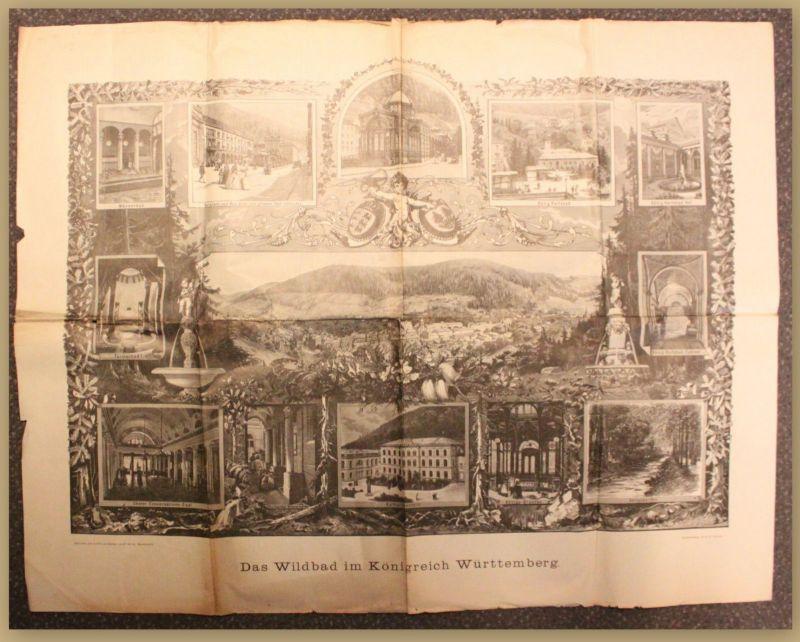 Orig. Prospekt Das Wildbad im Königreich Württemberg um 1880 Ortskunde Reise sf