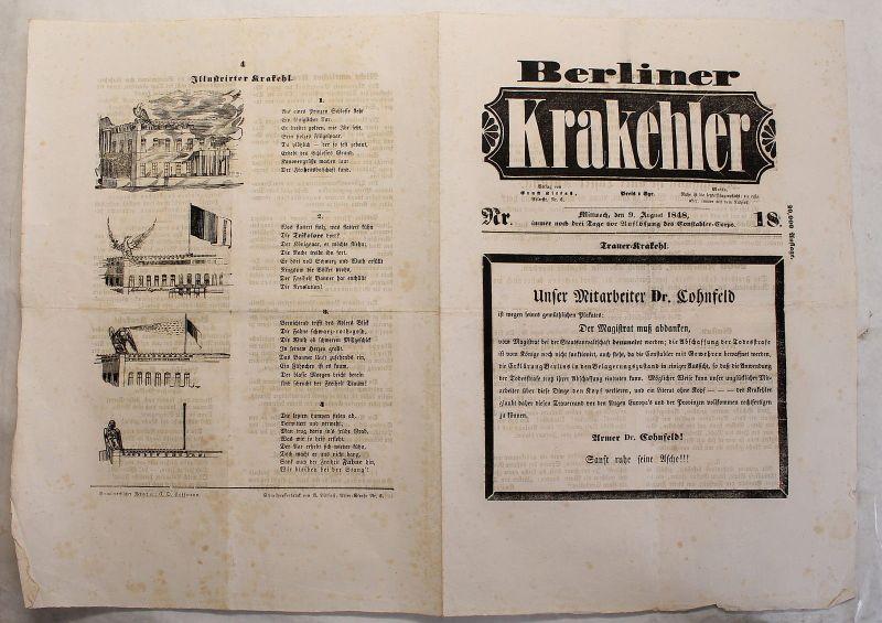 Zeitung Ernst Litfaß Berliner Krakehler 1848 Nr.18 Litfaßsäule Zeitschrift xy