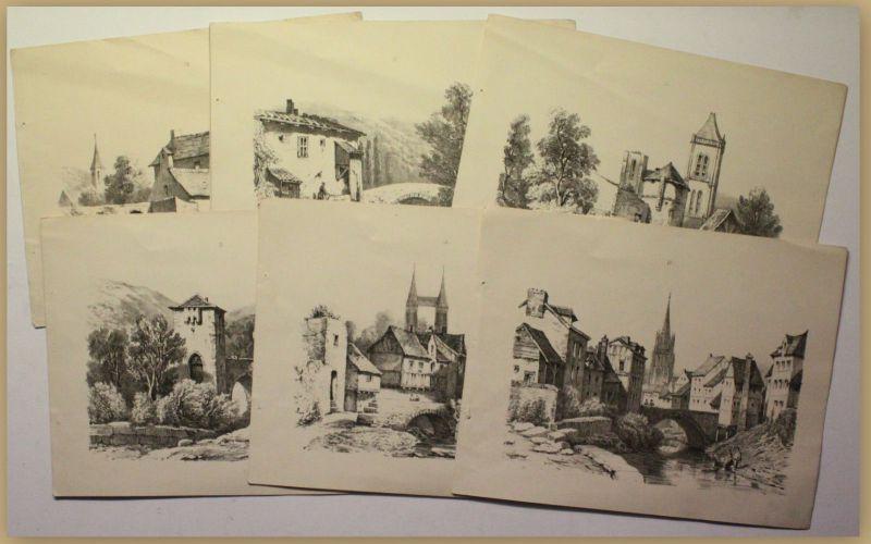 Sammlung 6 Lithografien um 1890 Städte Gebäude Architektur Kultur Reise sf