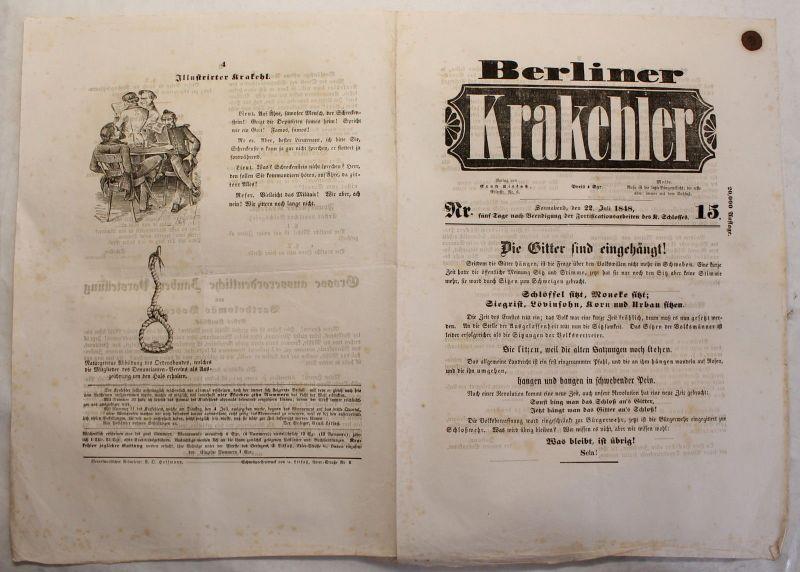 Zeitung Ernst Litfaß Berliner Krakehler 1848 Nr.15 Litfaßsäule Zeitschrift xy
