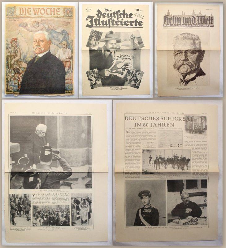 Hindenburg Konvolut 1927 Zeitschriftensammlung & Artikel illustriert xy