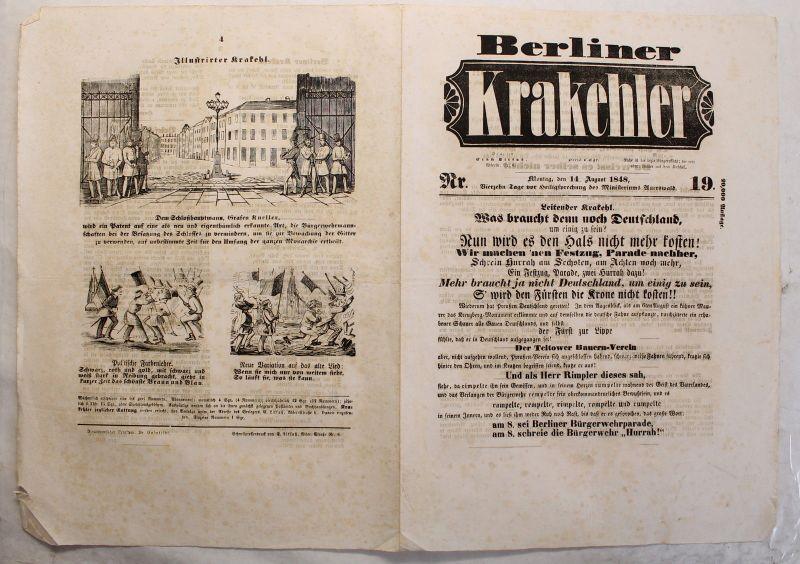 Zeitung Ernst Litfaß Berliner Krakehler 1848, Nr.19 Litfaßsäule komplett xy