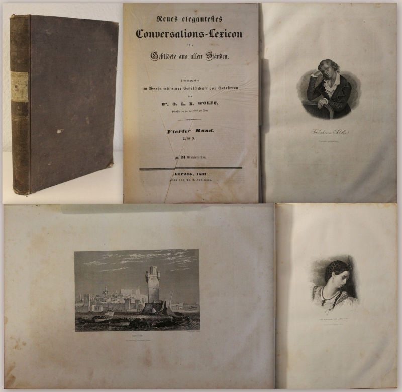 Wolff Neues elegantes Conversations-Lexicon 1837 mit 24 Stahlstichen Lexikon xz