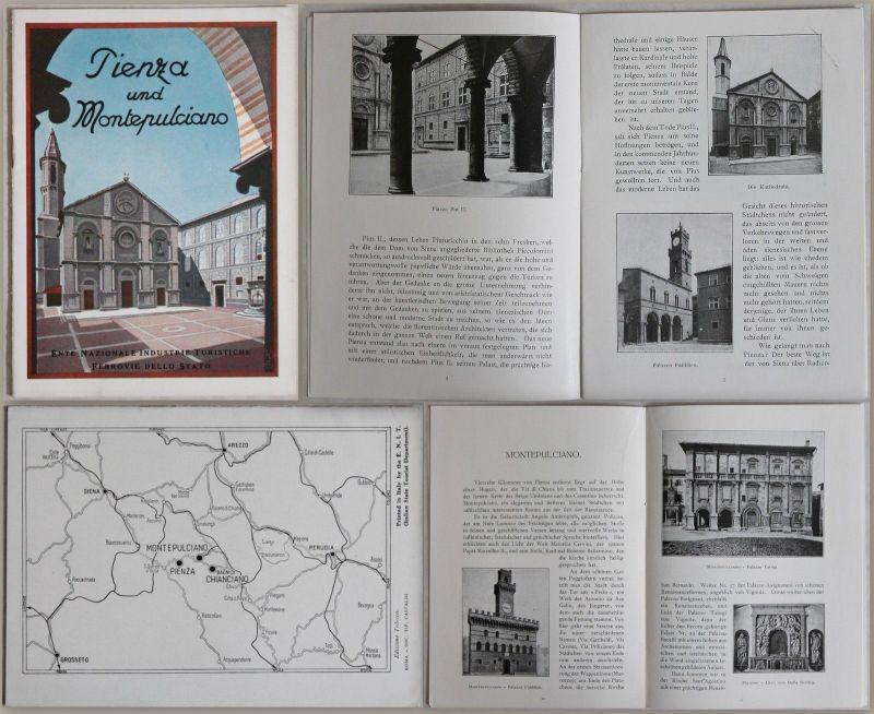 Alter Prospekt: Pienza und Montepulciano (um 1935) Reise Italien Toskana - xz