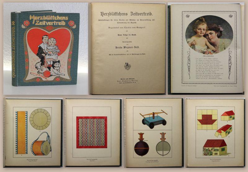 Wegner-Zell Herzblättchens Zeitvertreib um 1910 Märchen Gedichte Basteln Rätsel