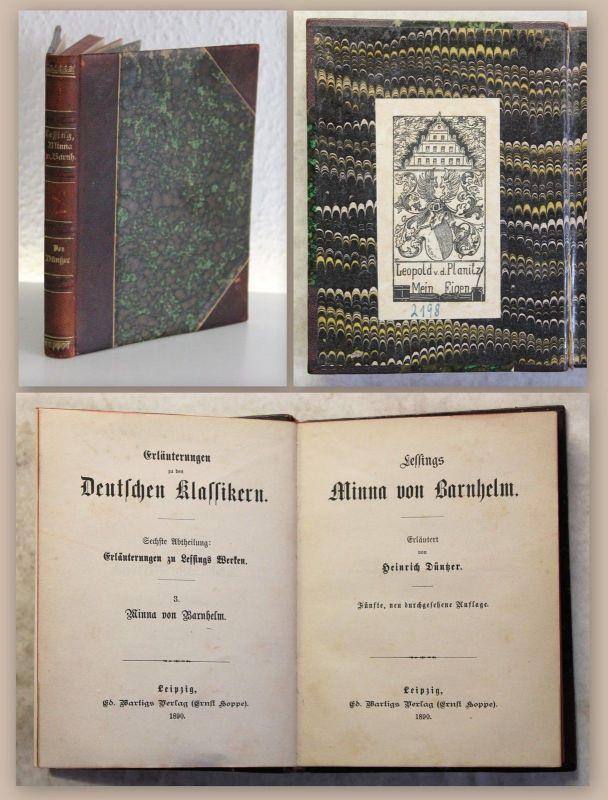 Lessing Werke Minna von Barnhelm 1890 Klassiker Exlibris Leopold von Planitz xz