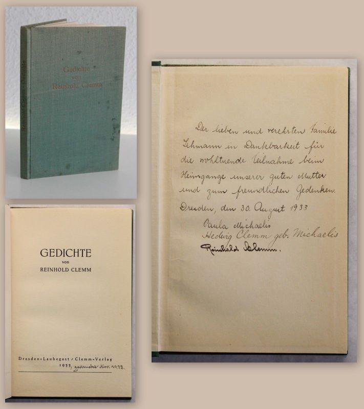 Reinhold Clemm Gedichte 1933 mit Widmung des Verfassers einzige Ausgabe xz