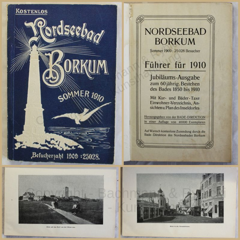 Orig. Prospekt Nordseebad Borkum 1910 Ortskunde Landeskunde Geografie xy