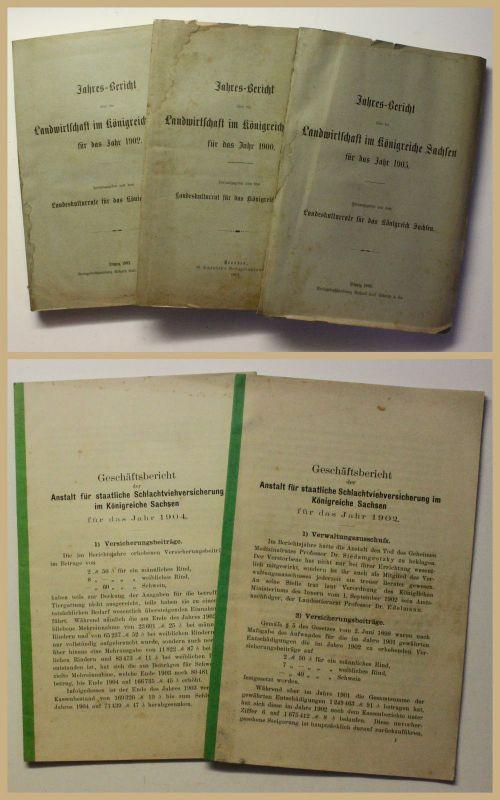 Jahresberichte Landwirtschaft im Königreiche Sachsen 3 Bde + 2 Beigaben um 1900