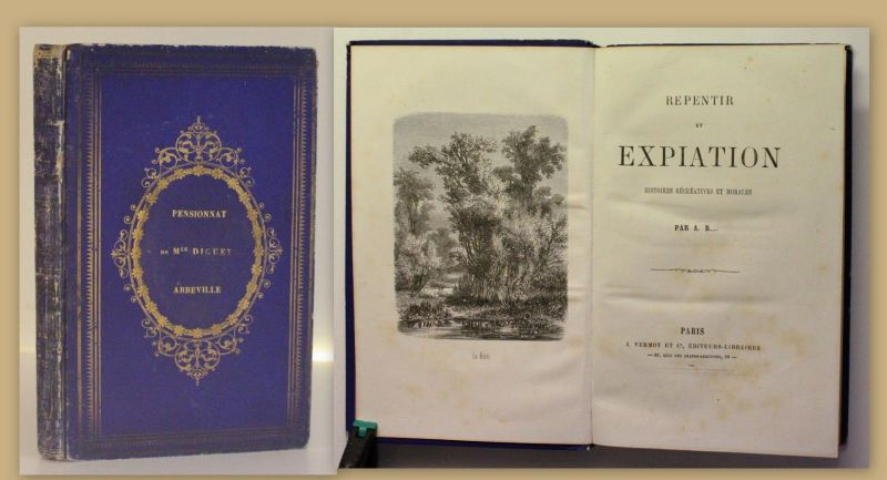 Repentir et Expiation Histoires Recreatives et Morales um 1870 Schulpreiseinband